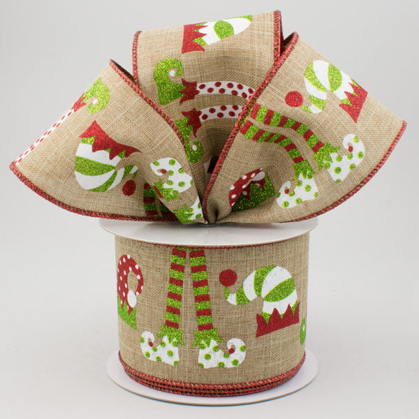 "2.5""x10yd Elf Hats And Legs On Royal, Beige/White/Red/Lime G66"
