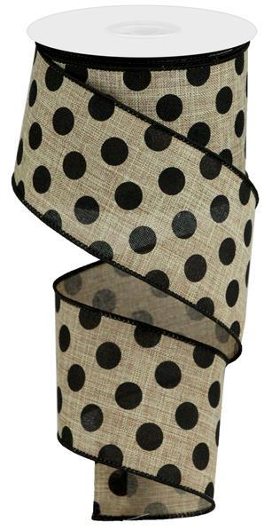 "2.5""X10yd Medium Polka Dot On Royal Burlap, Beige/Black S24"