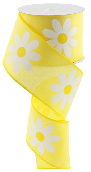 "2.5""X10yd Daisy Bold Print On Royal, Yellow/White - KRINGLE DESIGNS"
