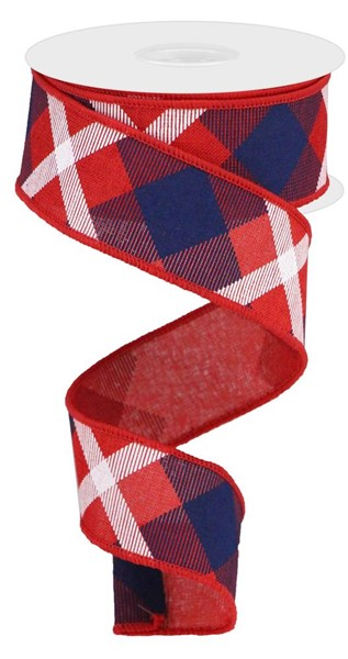 "1.5""x10yd Printed Plaid On Royal, Red/Navy Blue/White S12"