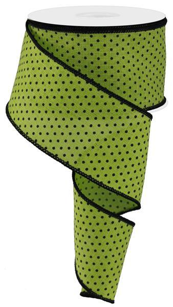 "2.5""X10YD Raised Swiss Dots On Royal, Lime Green/Black"