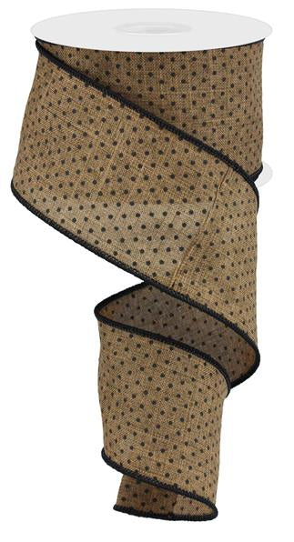 "2.5""X10YD Raised Swiss Dots On Royal, Brown/Tan/Black"