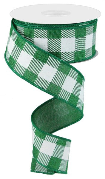 "1.5""X10yd Striped Check On Royal, Emerald Green/White ARRIVING MAY 2021***"