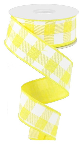 "1.5""X10yd Striped Check On Royal, Yellow/White N7"