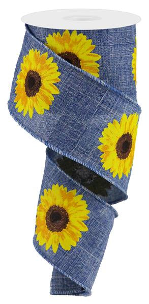 "2.5""X10YD Bold Sunflower On Royal, Denim/Yellow/Orange/Brown - KRINGLE DESIGNS"