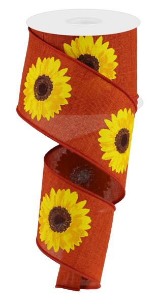 "2.5""X10YD Bold Sunflower On Royal, Rust/Yellow/Orange/Brown - KRINGLE DESIGNS"