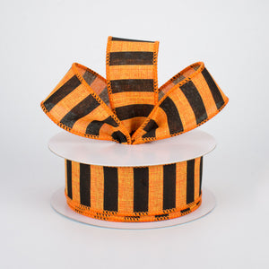 "1.5""X10yd Medium Horizontal Stripe On Royal, Orange/Black - KRINGLE DESIGNS"