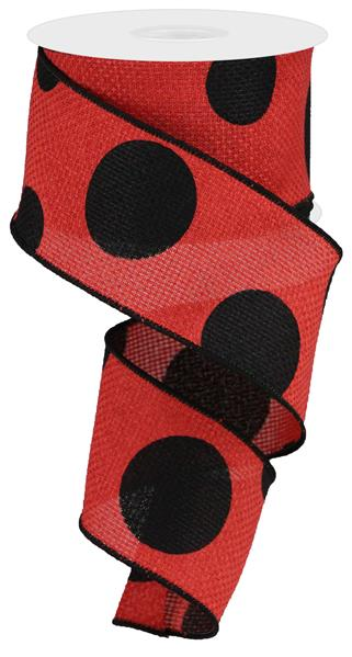 "2.5""x10YD Large Polka Dots On Cross Royal, Red/Black"