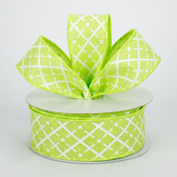 "1.5""X10yd Glittered Argyle On Royal, Bright Green/White/Silver"