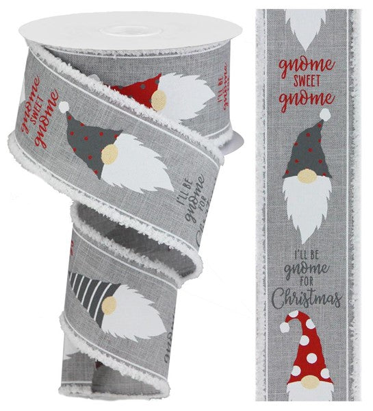 "2.5""X10yd Christmas Gnome Head On Royal w/Snowdrift, Light Grey/Red/White ***OUT FOR THE SEASON***"