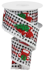"2.5""X10yd Merry Christmas Truck w/Snow Drift On Check, White/Black/Red/Green O57"