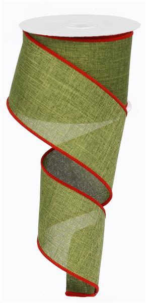 "2.5""X10yd Royal Burlap, Moss Green/Red"