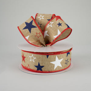 "1.5""X10YD Stars Print On Royal, Light Beige/Red/White/Blue RR"