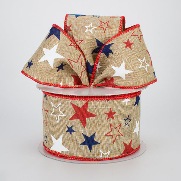 "2.5""X10yd Stars Print On Royal Burlap, Natural/Red/White/Blue  RR"