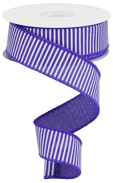 "1.5""X10yd Horizontal Stripes On Royal, New Purple/White O6"