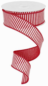 "1.5""X10yd Horizontal Stripes On Royal, Red/White - KRINGLE DESIGNS"