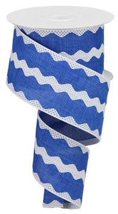 "2.5""X10yd Ricrac Stripe On Royal, Royal Blue/White G52"