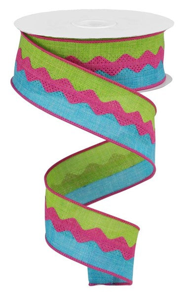"1.5""X10yd 2-In-1 Ricrac On Royal, Lime/Turquoise/Fuchsia RR"