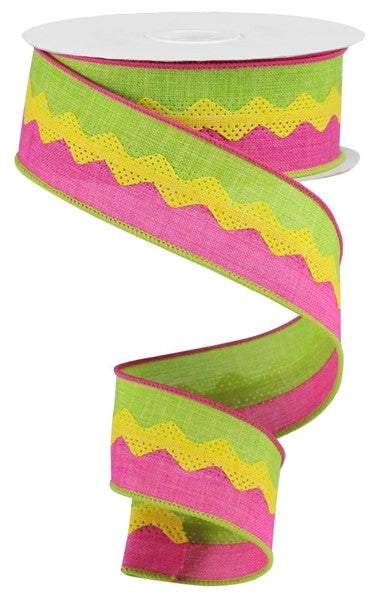 "1.5""X10yd 2-In-1 Ricrac On Royal, Lime/Yellow/Fuchsia ***ARRIVING APRIL 2021***"