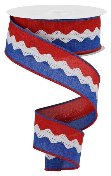 "1.5""X10yd 2-In-1 Ricrac On Royal, Red/White/Blue ***ARRIVING MAY 2021***"