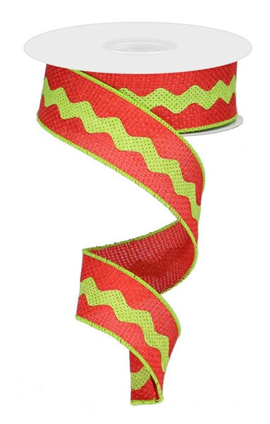 "1.5""X10yd Ricrac On Royal, Red/Lime Green"