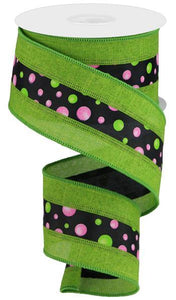 "2.5""X10yd Multi Dots W/Royal Border, Fresh Green/Black/Pink/Lime"