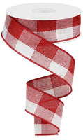 "1.5""X10yd Woven Check, Red/White VO67"