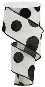 "2.5""X10YD Large Polka Dot On Royal, White/Black  F7"
