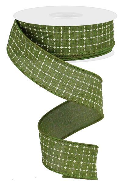 "1.5""X10yd Raised Stitched Squares On Royal, Moss Green/Cream - KRINGLE DESIGNS"