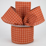 "2.5""X10yd Raised Stitched Squares On Royal, Rust/Cream O16"