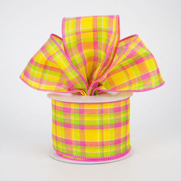 "2.5""X10yd Woven Check, Yellow/Hot Pink/Lime"