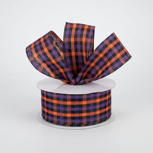 "1.5""X10yd Woven Gingham Check, Orange/Purple/Black ***OUT FOR THE SEASON***"