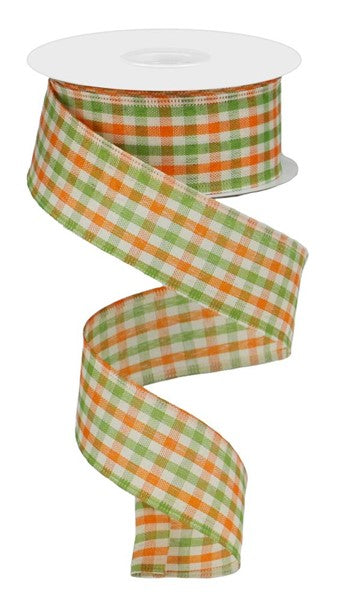 "1.5""X10yd Woven Gingham Check, Orange/Moss/Ivory O37"