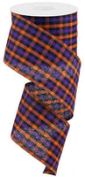 "2.5""X10yd Woven Gingham Check, Orange/Purple/Black ***OUT FOR THE SEASON***"