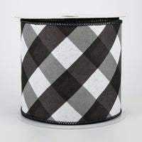 "4""X10YD Bold Check On Royal, White/Black/Grey O65"