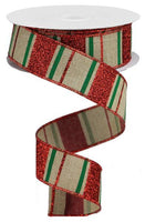 "1.5""X10YD Glitter Stripes On Royal, Light Beige/Red/Emerald Green - KRINGLE DESIGNS"