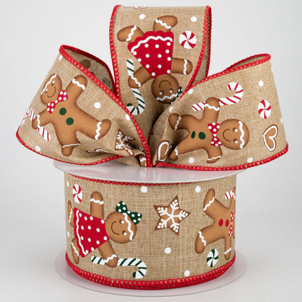 "2.5""X10yd Gingerbread On Royal, Light Beige/Tan/Red/Emerald ***OUT FOR THE SEASON***"