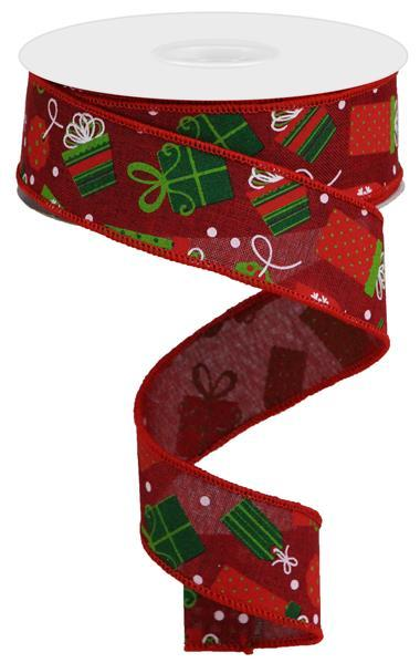 "1.5""X10yd Christmas Presents On Royal, Burgundy/White/Lime/Red/Emerald - KRINGLE DESIGNS"
