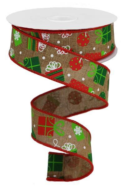 "1.5""X10yd Christmas Presents On Royal, Tan/White/Lime/Red/Emerald - KRINGLE DESIGNS"