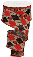 "2.5""X10yd Argyle Ladybugs On Royal, Light Beige/Red/Black"