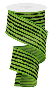 "2.5""X10yd Irregular Stripes On Royal, Lime Green/Black"