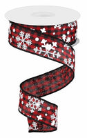 "1.5""X10yd Falling Snow w/Check, Red/Black/White"