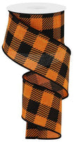 "2.5""X10YD Large Striped Check On Royal, Orange/Black S37"