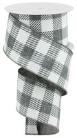 "2.5""X10YD Large Striped Check On Royal, Grey/White O39"