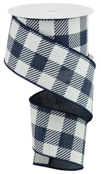"2.5""X10YD Large Striped Check On Royal, Navy Blue/White ***ARRIVING JAN 2021***"