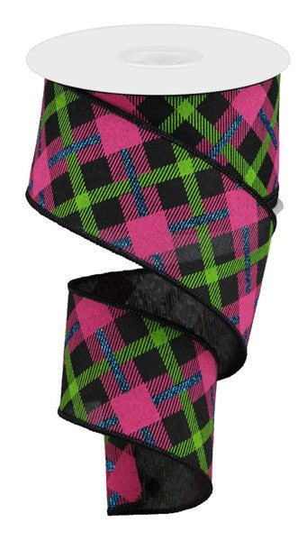 "2.5""X10YD Printed Plaid On Royal, Black/Lime/Hot Pink/Blue"