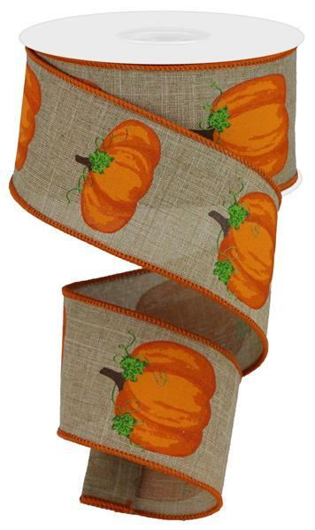 "2.5""X10YD Pumpkins With Leaves On Royal, Light Beige/Orange/Brown/Moss"