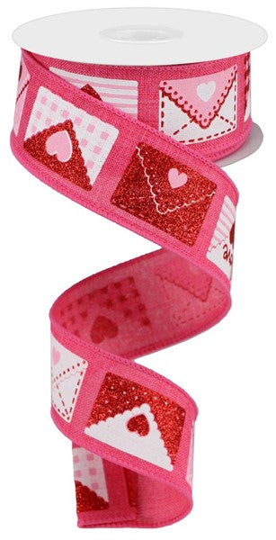 "1.5""X10yd Love Letters On Royal, Hot Pink/White/Red/Pink RR"
