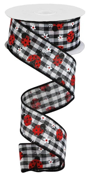 "1.5""X10yd Mini Ladybugs On Check, Black/White/Red  G18 S44"