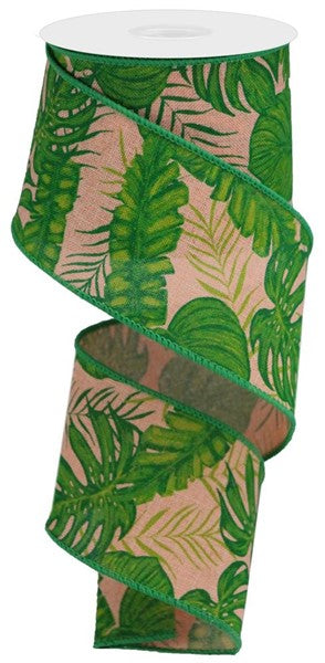 "2.5""X10yd Tropical Leaves On Royal, Peach/Lime Green/Green"